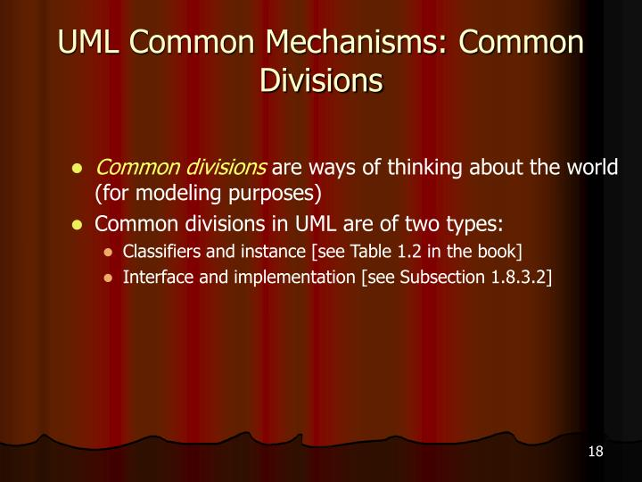 UML Common Mechanisms: Common Divisions