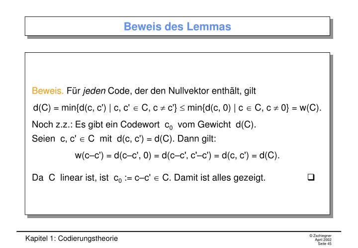 Beweis des Lemmas
