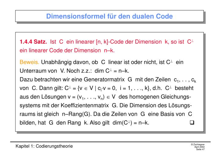 Dimensionsformel für den dualen Code
