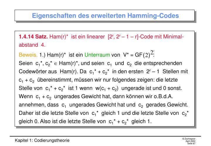 Eigenschaften des erweiterten Hamming-Codes