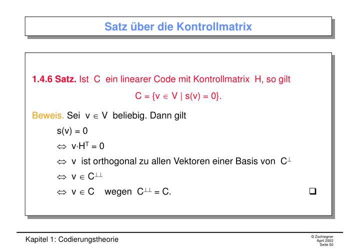 Satz über die Kontrollmatrix