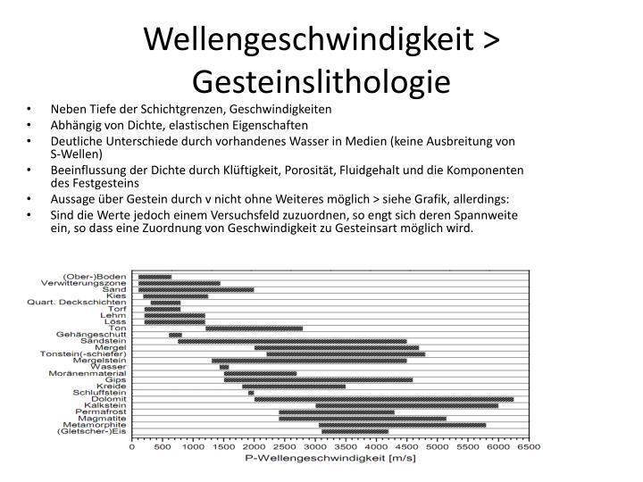 Wellengeschwindigkeit > Gesteinslithologie