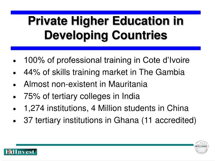 education in developing countries In developing, low-income countries, every additional year of education can increase a person's future income by an average of 10% women who are less educated are.