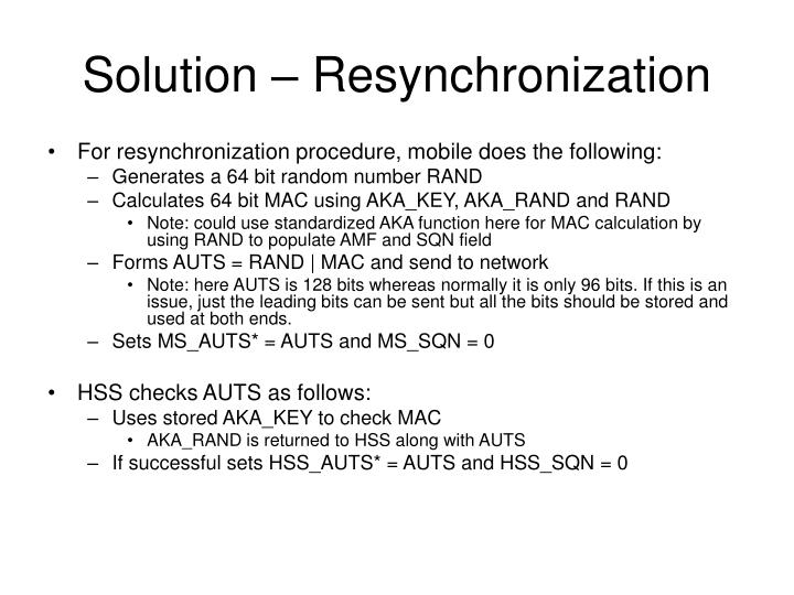 Solution – Resynchronization