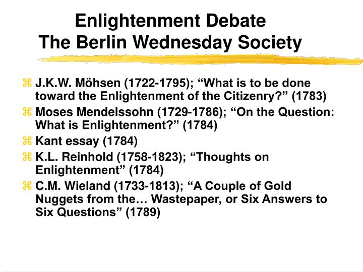 Enlightenment Debate
