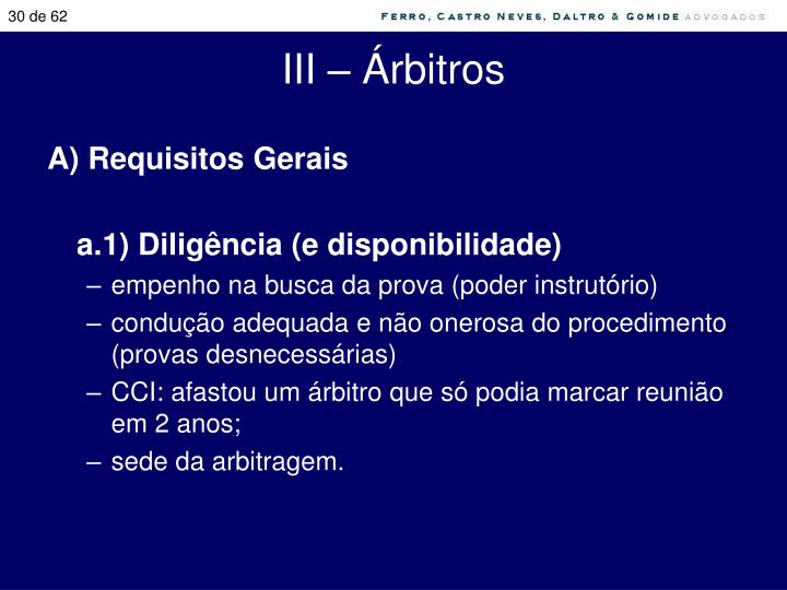 III – Árbitros