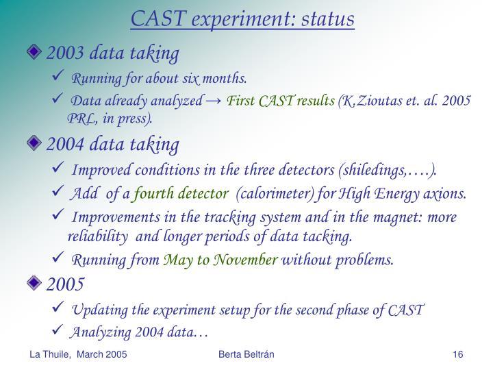 CAST experiment: status