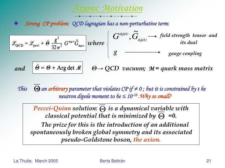 Axions: Motivation