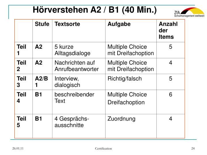 Hörverstehen A2 / B1 (40 Min.)