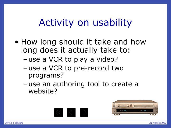 Activity on usability