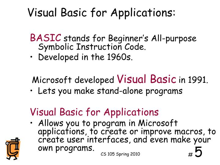 Visual Basic for Applications: