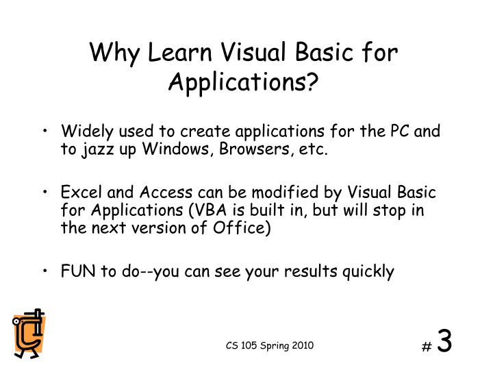 Why learn visual basic for applications