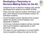 developing a taxonomy or decision making rules for the as