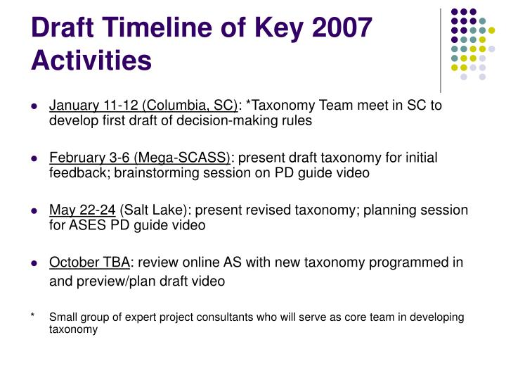 Draft Timeline of Key 2007 Activities