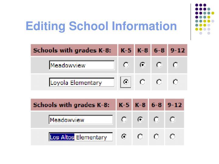 Editing School Information