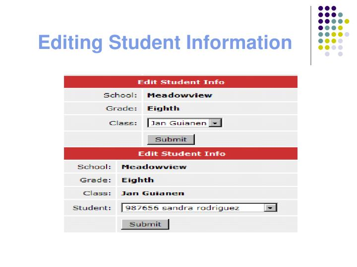 Editing Student Information
