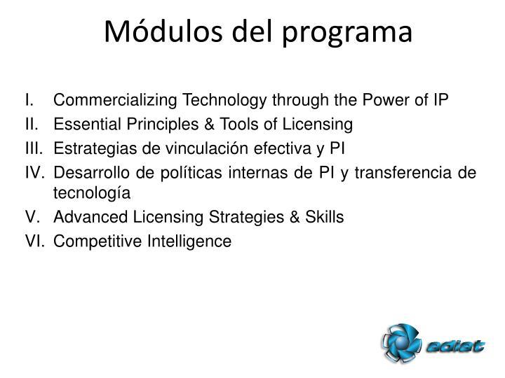 Módulos del programa