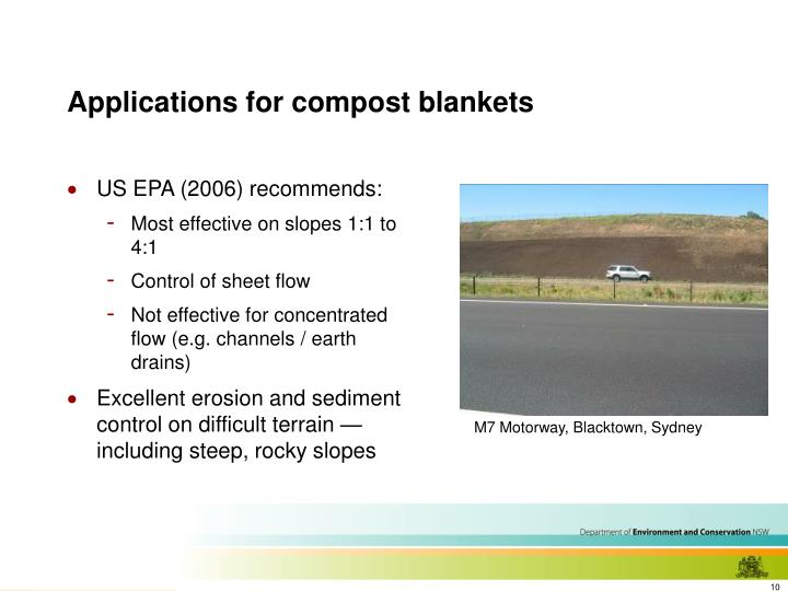 Applications for compost blankets