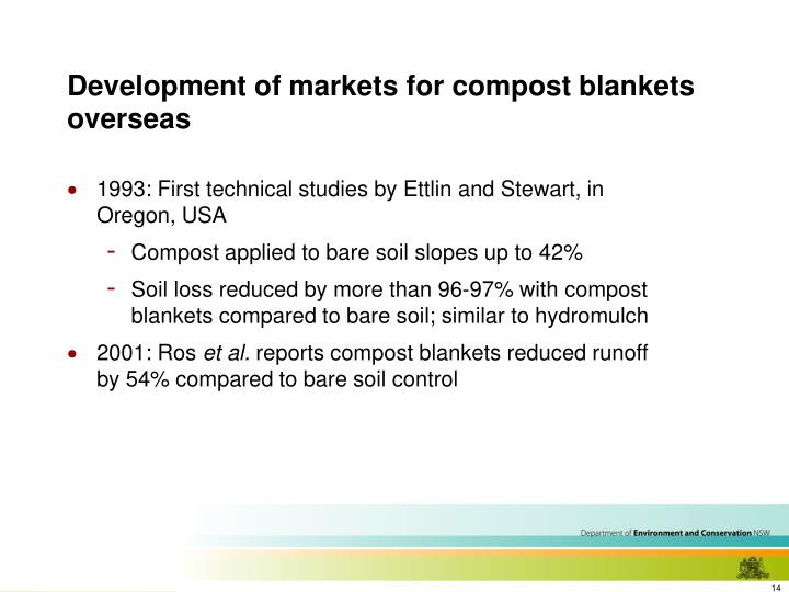 Development of markets for compost blankets overseas