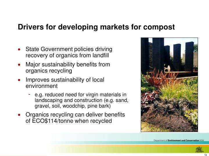 Drivers for developing markets for compost