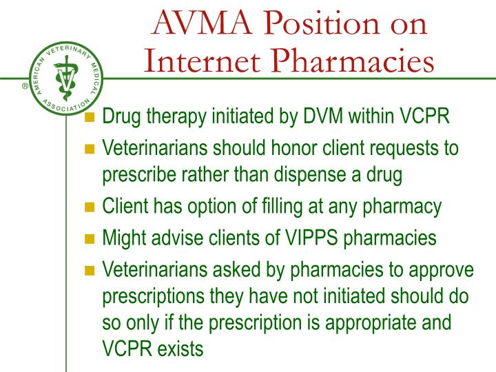 AVMA Position on Internet Pharmacies