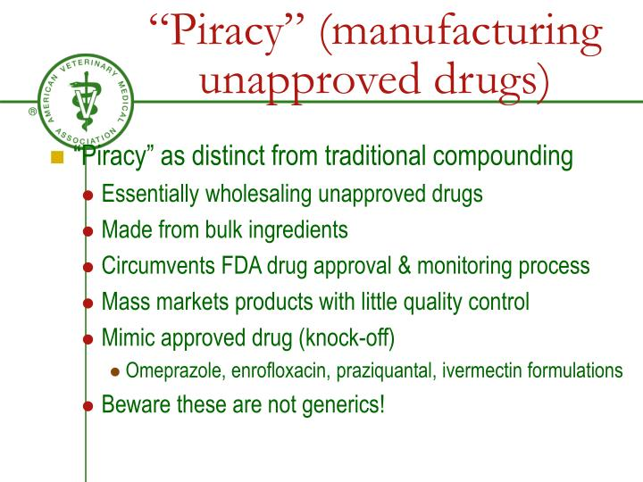 """Piracy"" (manufacturing unapproved drugs)"