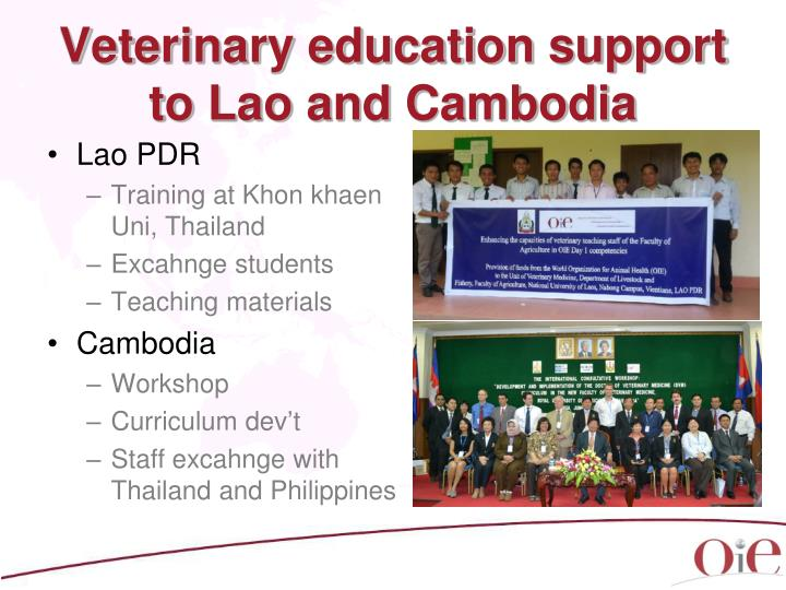 Veterinary education support to Lao and Cambodia