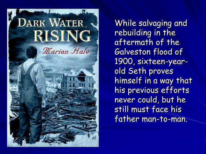 While salvaging and rebuilding in the aftermath of the Galveston flood of 1900, sixteen-year-old Seth proves himself in a way that his previous efforts never could, but he still must face his father man-to-man.