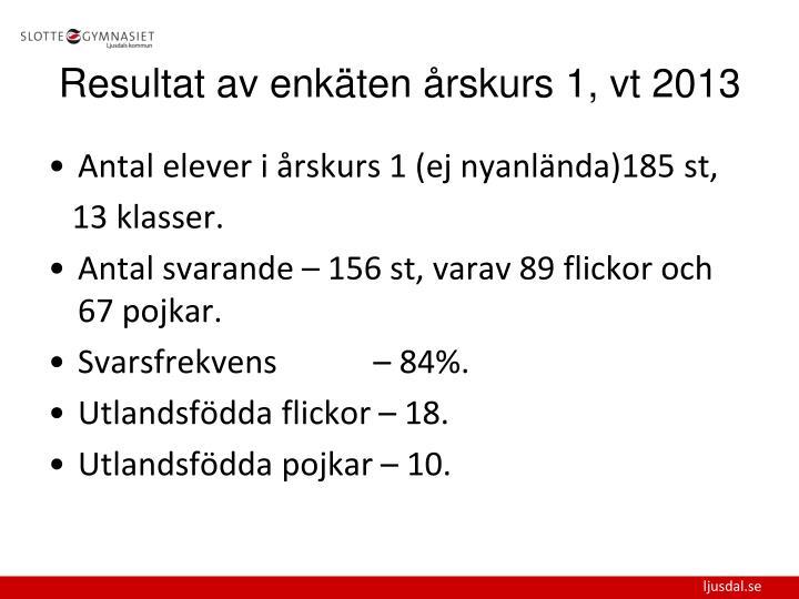 Antal elever i årskurs 1 (ej nyanlända)185 st,