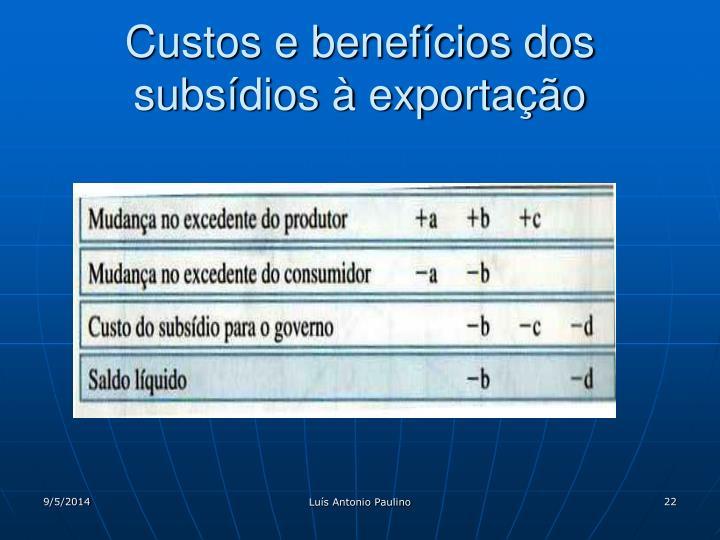 Custos e benefícios dos subsídios à exportação