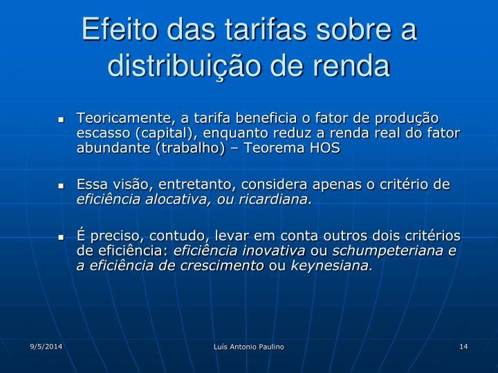 Efeito das tarifas sobre a distribuição de renda