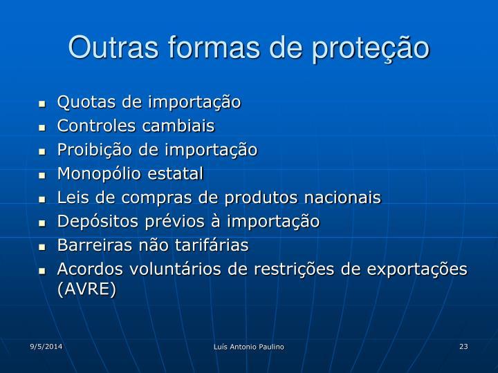 Outras formas de proteção