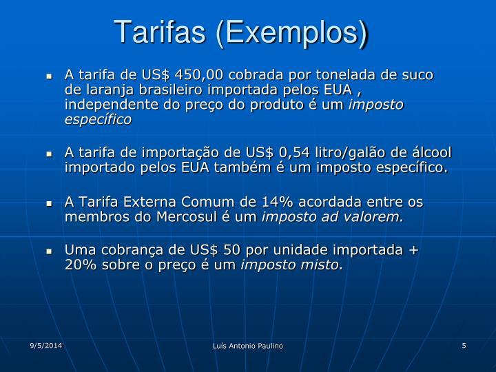 Tarifas (Exemplos)