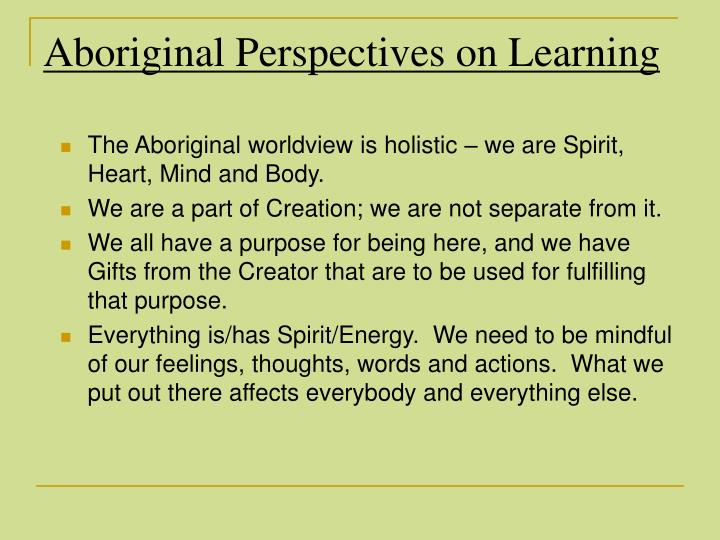 Aboriginal Perspectives on Learning