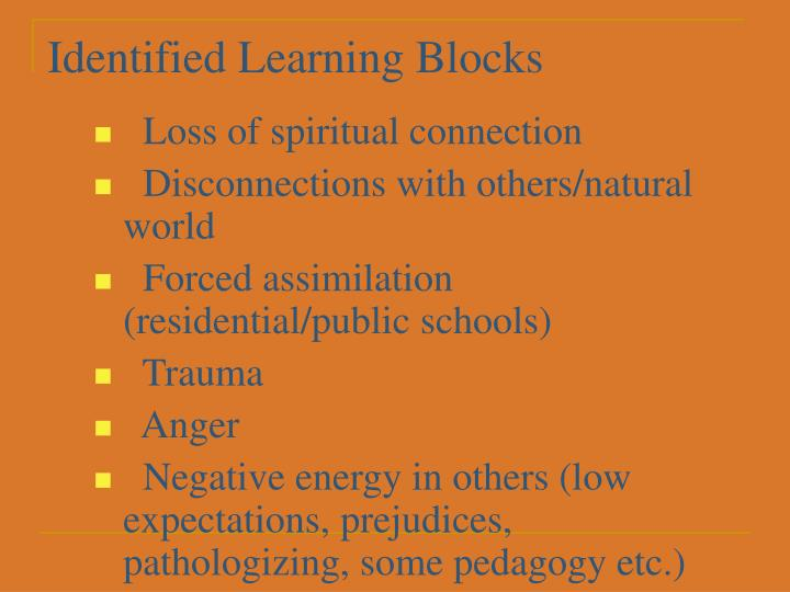 Identified Learning Blocks
