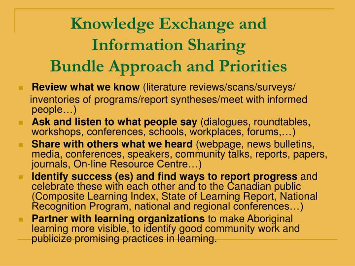 Knowledge Exchange and Information Sharing