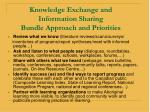 knowledge exchange and information sharing bundle approach and priorities