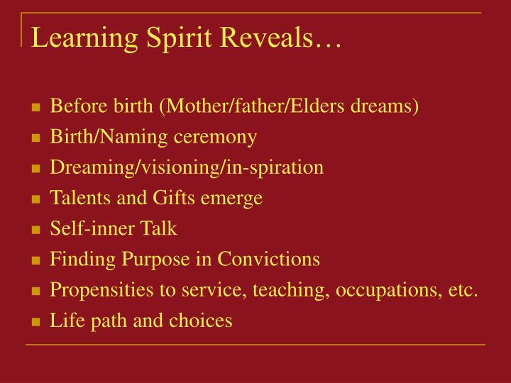 Learning Spirit Reveals…