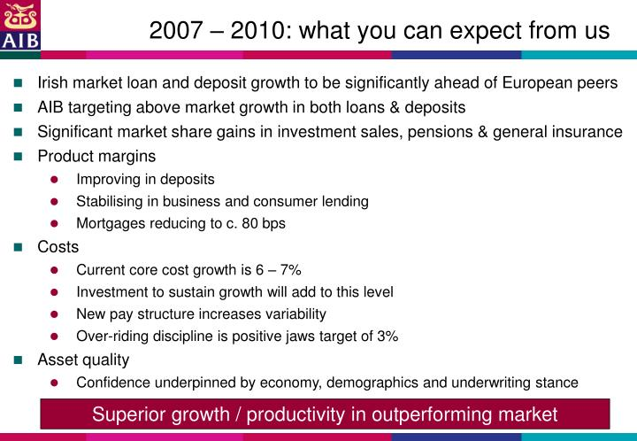 2007 – 2010: what you can expect from us