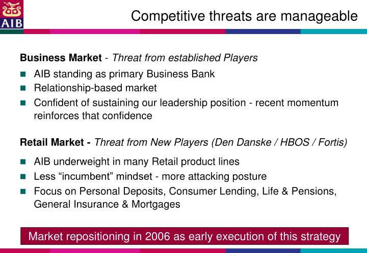 Competitive threats are manageable