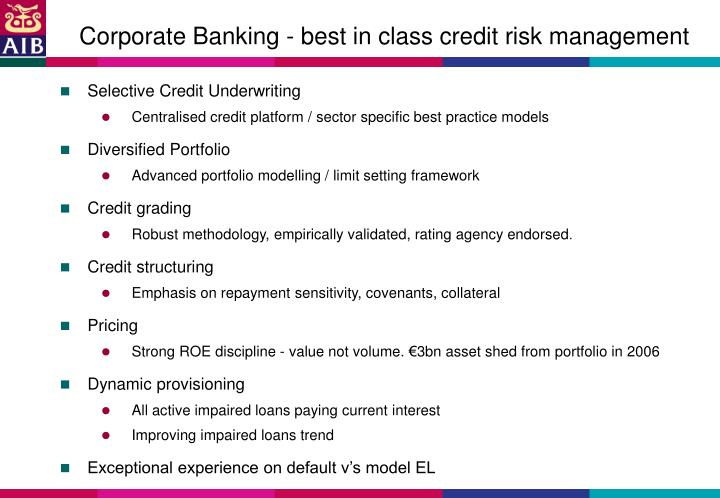 Corporate Banking - best in class credit risk management