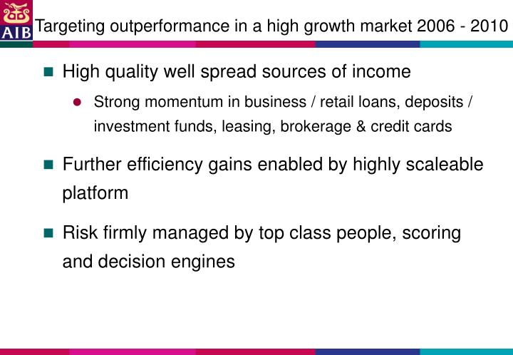 Targeting outperformance in a high growth market 2006 - 2010