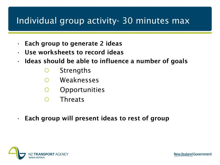 Individual group activity- 30 minutes max