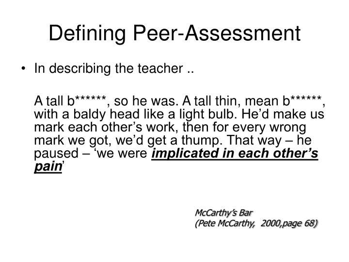 Defining Peer-Assessment
