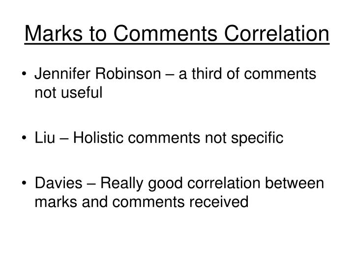 Marks to Comments Correlation