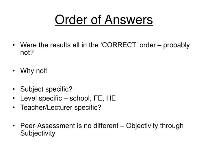 Order of Answers