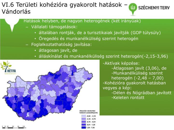 VI.6 Területi kohézióra gyakorolt hatások – Vándorlás