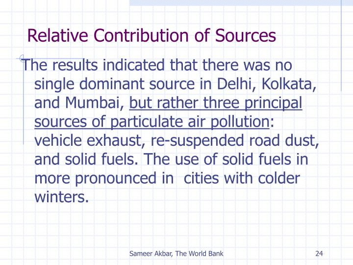 Relative Contribution of Sources