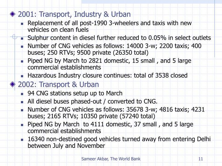 2001: Transport, Industry & Urban