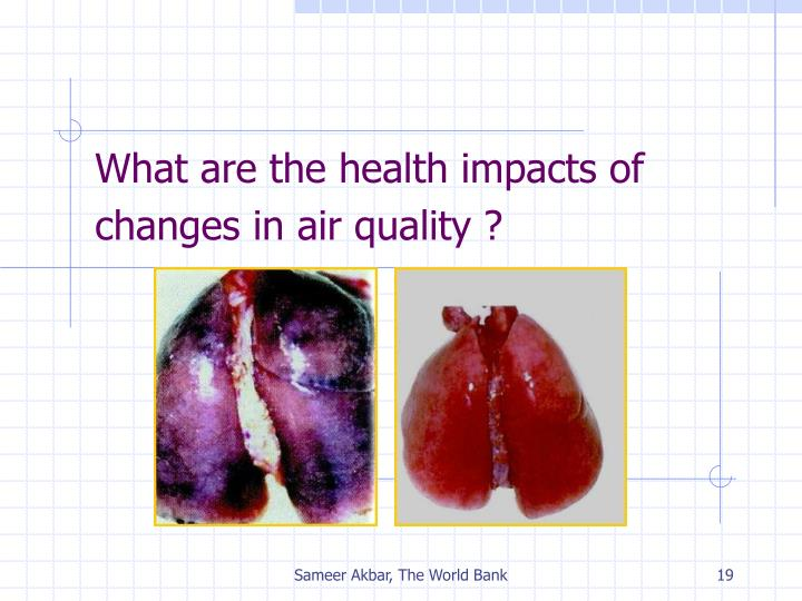 What are the health impacts of changes in air quality ?